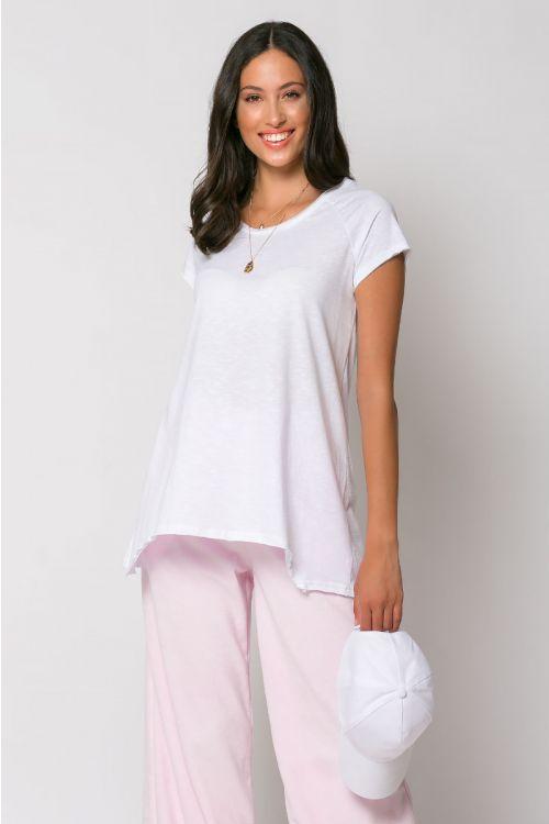 Ασύμμετρο basic t-shirt rome-ΛΕΥΚΟ