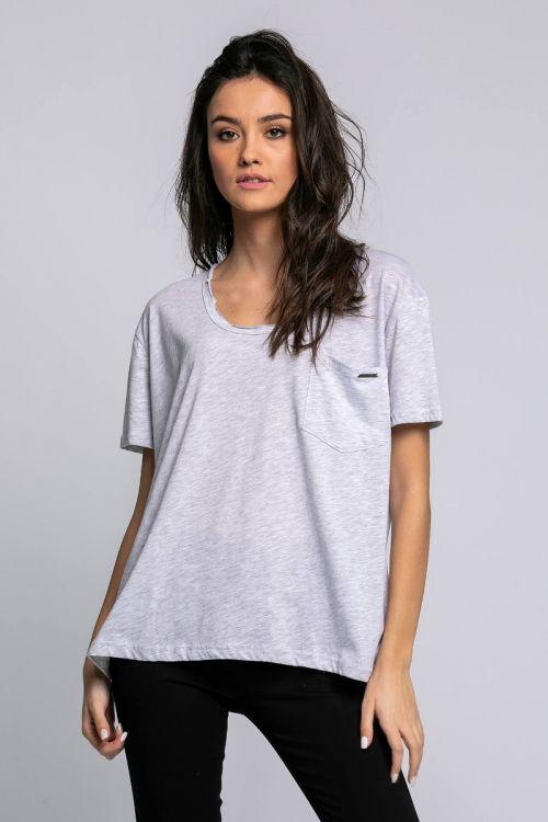 T-shirt με τσεπάκι milan-ΓΚΡΙ ΑΝΟΙΧΤΟ