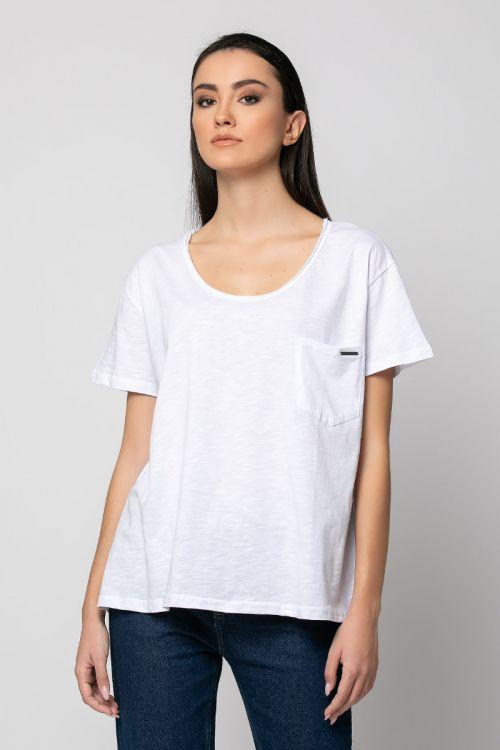 T-shirt με τσεπάκι milan-ΛΕΥΚΟ