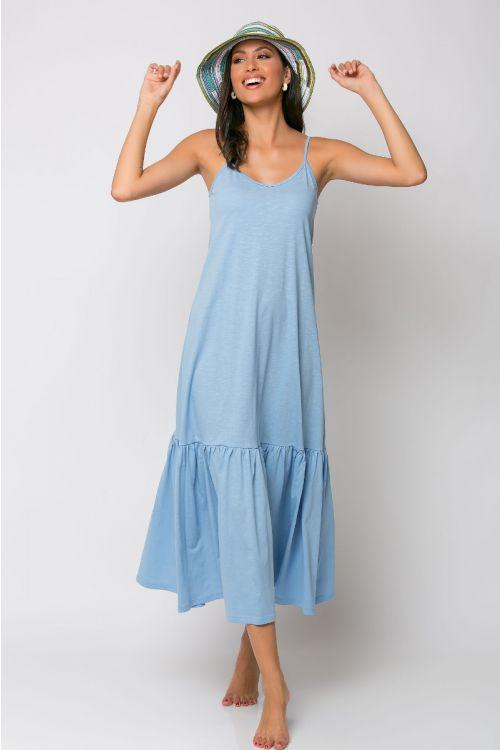 Μίντι φόρεμα με βολάν genoa-ΓΑΛΑΖΙΟ