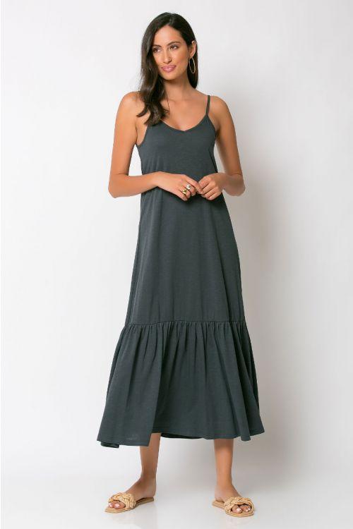 Μίντι φόρεμα με βολάν genoa-ΑΝΘΡΑΚΙ