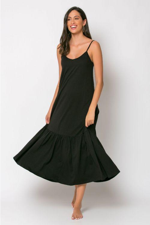 Μίντι φόρεμα με βολάν genoa-ΜΑΥΡΟ