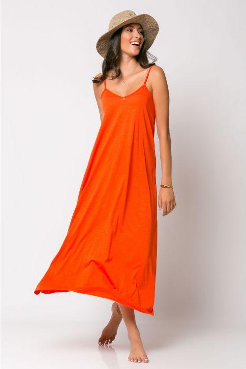 Μίντι φόρεμα ραντάκι rome-ΠΟΡΤΟΚΑΛΙ