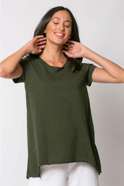 Ασύμμετρο basic t-shirt rome-ΧΑΚΙ