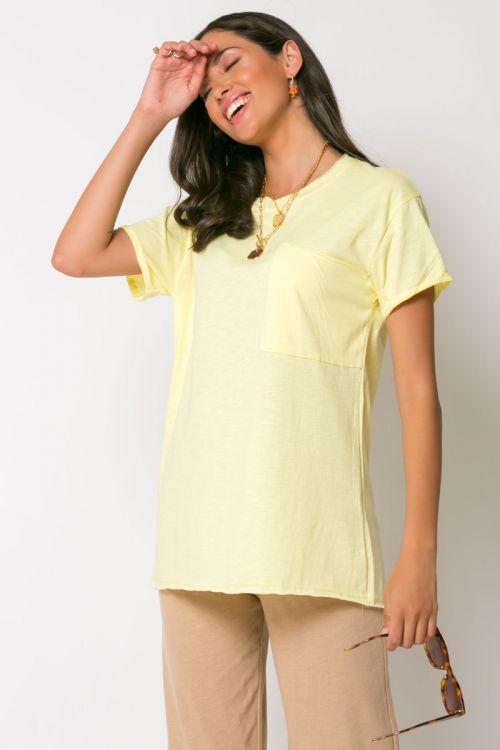 T-shirt με τσεπάκι αριστερά-ΚΙΤΡΙΝΟ