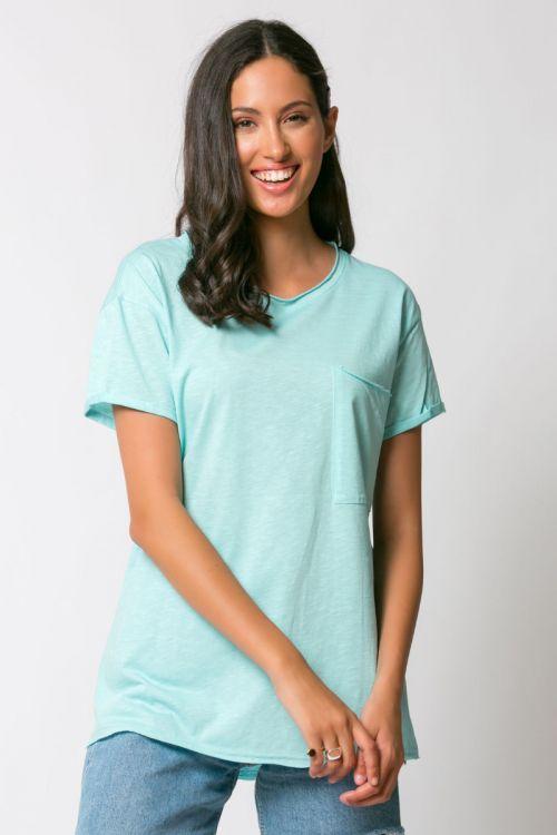 T-shirt με τσεπάκι αριστερά-ΓΑΛΑΖΙΟ
