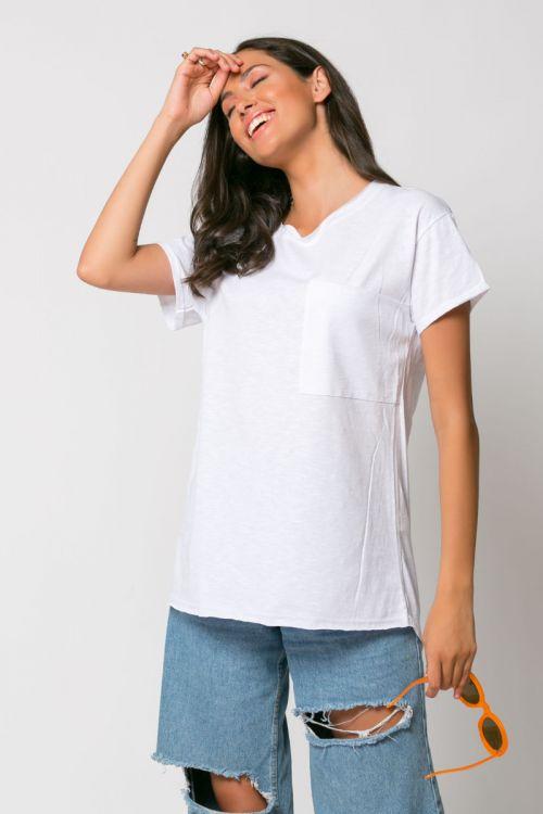 T-shirt με τσεπάκι αριστερά-ΛΕΥΚΟ