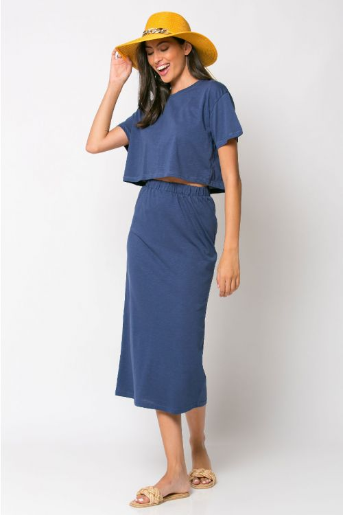 Σετ κροπ τοπ με φούστα rome-ΜΠΛΕ DENIM