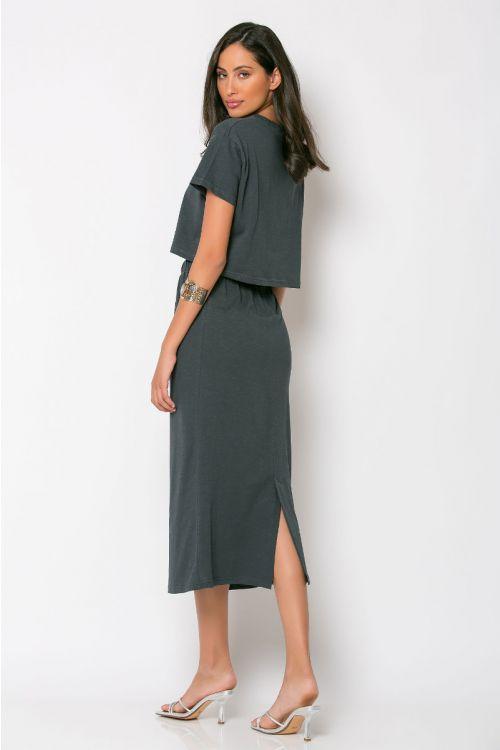 Σετ κροπ τοπ με φούστα rome-ΑΝΘΡΑΚΙ