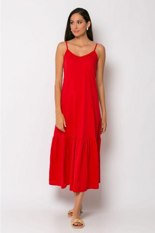 Μίντι φόρεμα με βολάν genoa-ΚΟΚΚΙΝΟ