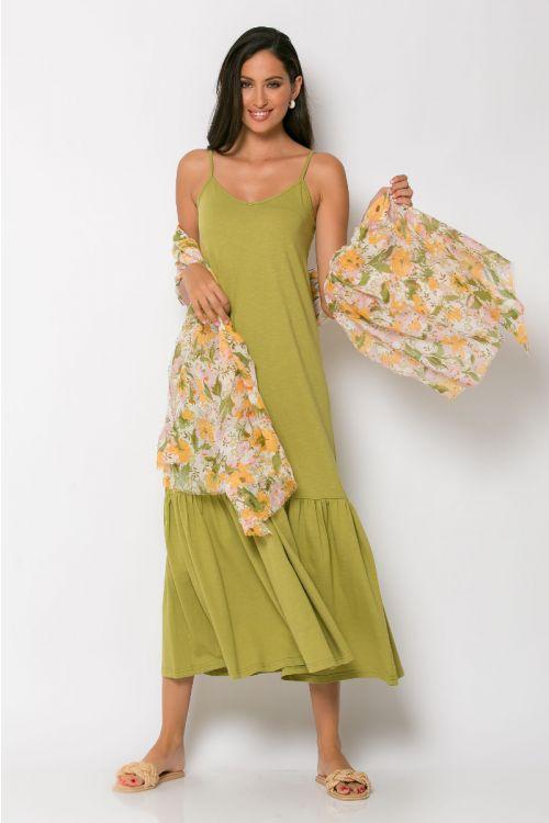Μίντι φόρεμα με βολάν genoa-ΛΑΔΙ