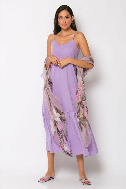 Μίντι φόρεμα με βολάν genoa-ΛΙΛΑ