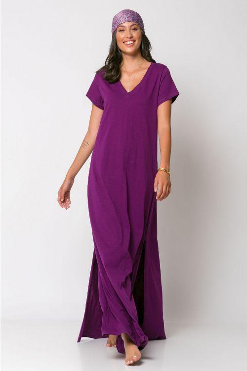 Μάξι φόρεμα με V λαιμόκοψη-ΜΩΒ