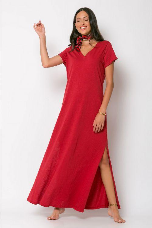 Μάξι φόρεμα με V λαιμόκοψη-CHERRY