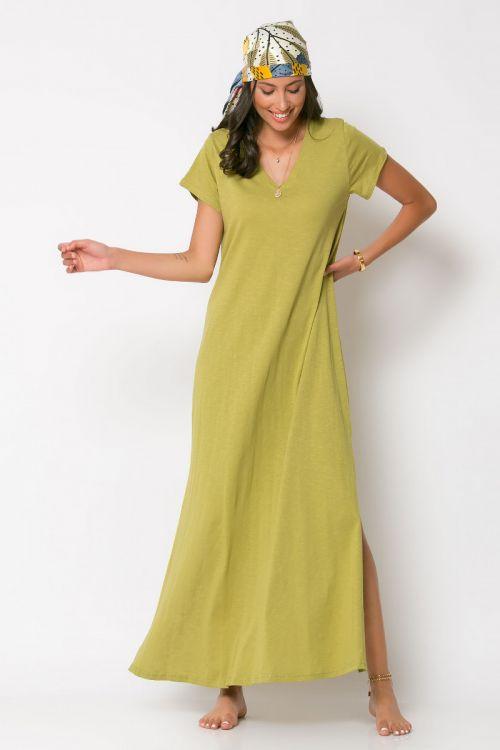 Μάξι φόρεμα με V λαιμόκοψη-ΛΑΔΙ