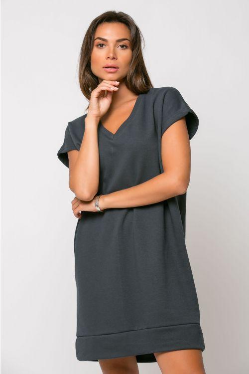 Φόρεμα φούτερ με V λαιμόκοψη-ΑΝΘΡΑΚΙ