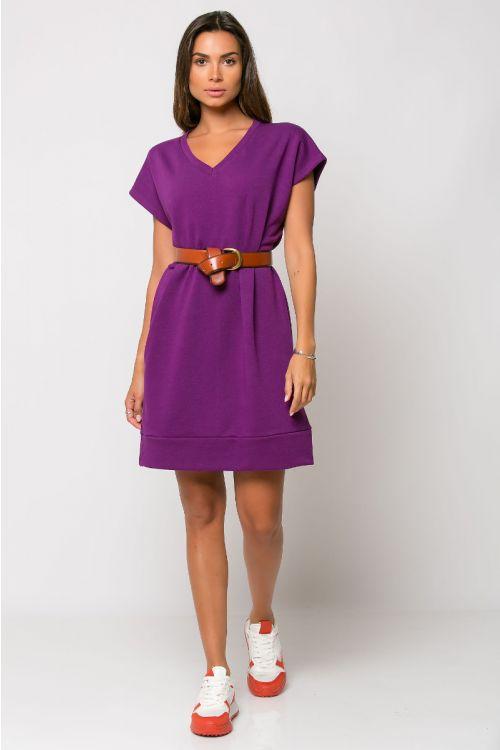 Φόρεμα φούτερ με V λαιμόκοψη-ΜΩΒ