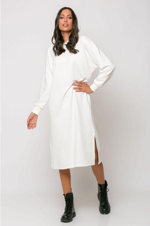 Φούτερ φόρεμα με κουκούλα modena-ΕΚΡΟΥ