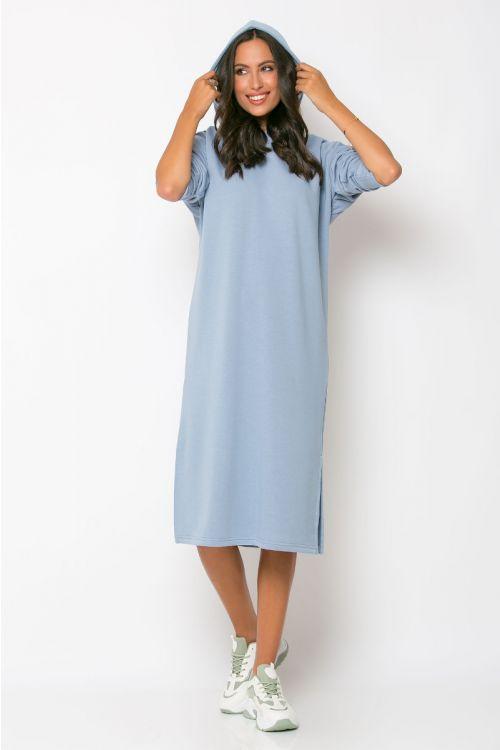 Φούτερ φόρεμα με κουκούλα modena-ΣΙΕΛ