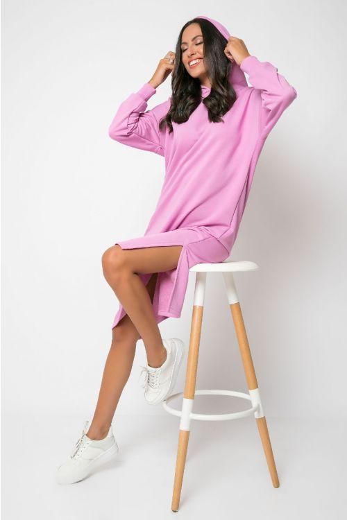 Φούτερ φόρεμα με κουκούλα modena-ΡΟΖ