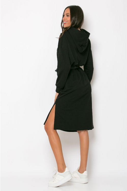 Φούτερ φόρεμα με κουκούλα modena-ΜΑΥΡΟ