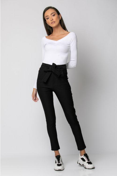 Παντελόνι ελαστικό με ζωνάκι-ΜΑΥΡΟ