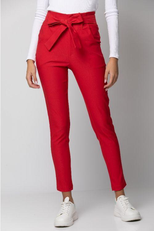 Παντελόνι ελαστικό με ζωνάκι-ΚΟΚΚΙΝΟ