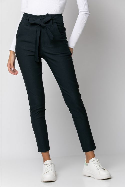 Παντελόνι ελαστικό με ζωνάκι-ΜΠΛΕ NAVY