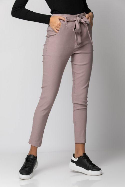 Παντελόνι ελαστικό με ζωνάκι-DIRTY PINK