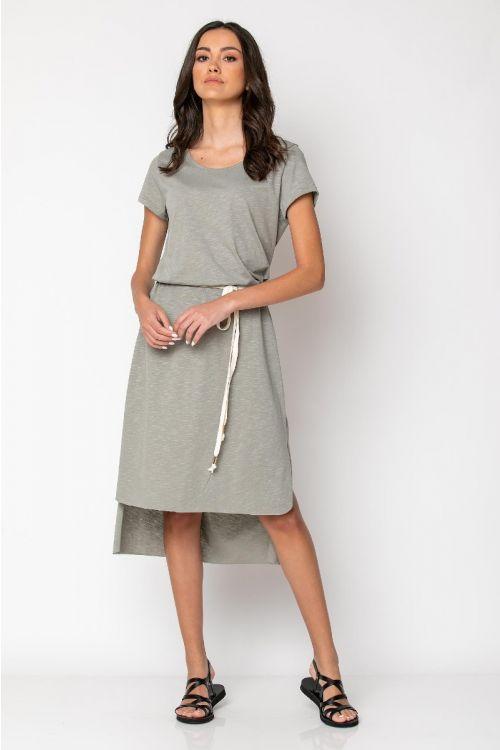 Ασύμμετρο φόρεμα με σκοινί στη μέση-ΓΚΡΙ ΤΟΥ ΠΑΓΟΥ